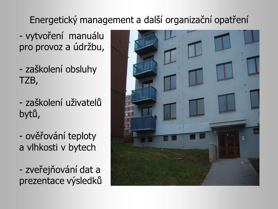 - vytvoření manuálu pro provoz a údržbu, - zaškolení obsluhy TZB, - zaškolení uživatelů bytů, - ověřování teploty a vlhkosti v bytech - zveřejňování dat a prezentace výsledků Energetický management a další organizační opatření