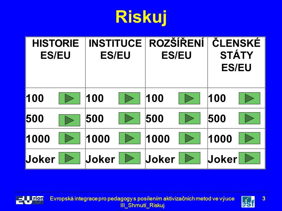 Evropská integrace pro pedagogy s posílením aktivizačních metod ve výuce III_Shrnutí_Riskuj 3 Riskuj HISTORIE ES/EU INSTITUCE ES/EU ROZŠÍŘENÍ ES/EU ČLENSKÉ STÁTY ES/EU 100 500 1000 Joker
