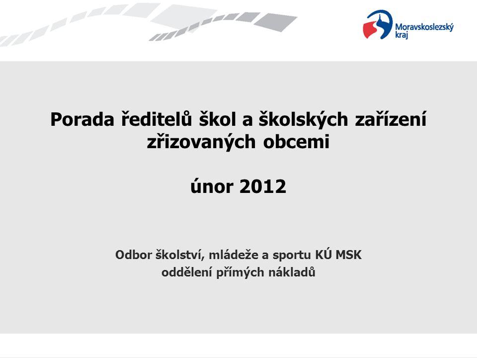 Porada ředitelů škol a školských zařízení zřizovaných obcemi únor 2012 Odbor školství, mládeže a sportu KÚ MSK oddělení přímých nákladů