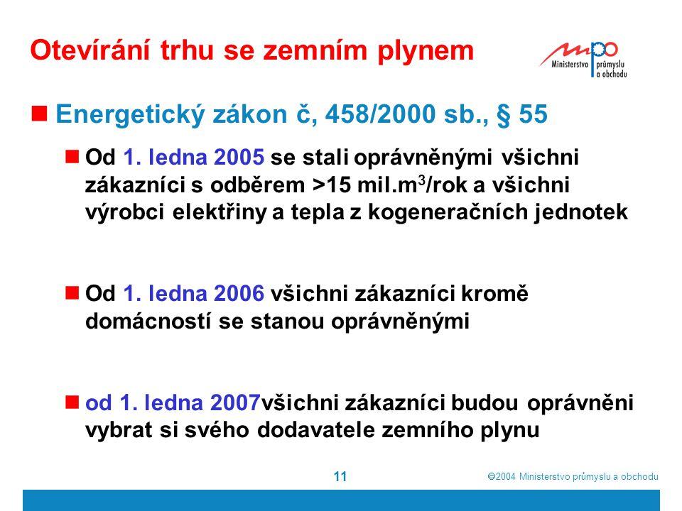  2004  Ministerstvo průmyslu a obchodu 11 Otevírání trhu se zemním plynem Energetický zákon č, 458/2000 sb., § 55 Od 1.