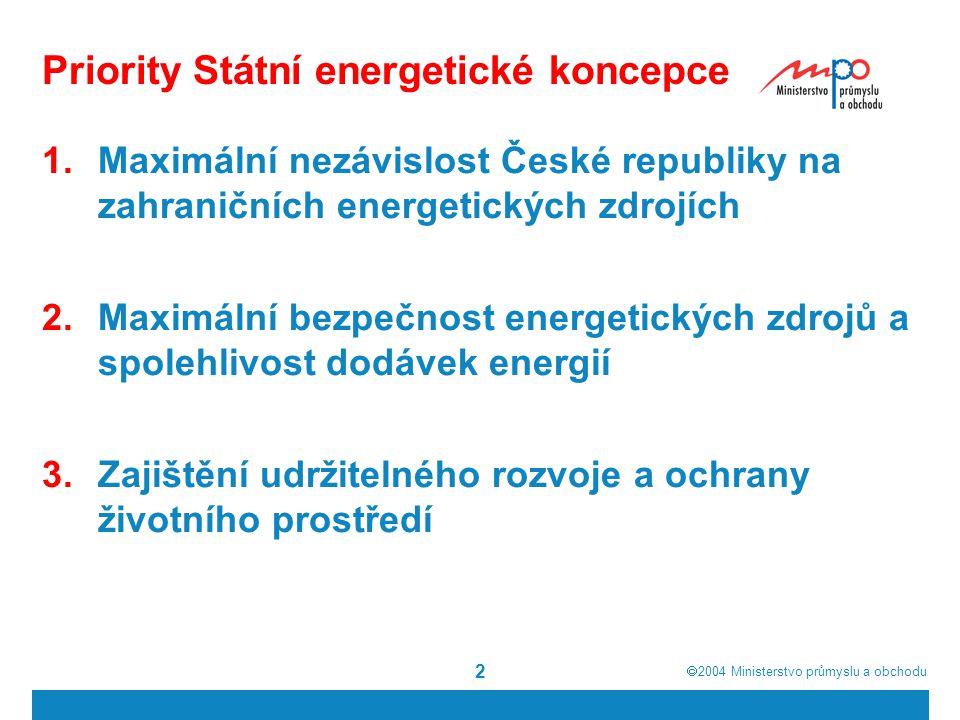  2004  Ministerstvo průmyslu a obchodu 2 Priority Státní energetické koncepce 1.Maximální nezávislost České republiky na zahraničních energetických zdrojích 2.Maximální bezpečnost energetických zdrojů a spolehlivost dodávek energií 3.Zajištění udržitelného rozvoje a ochrany životního prostředí