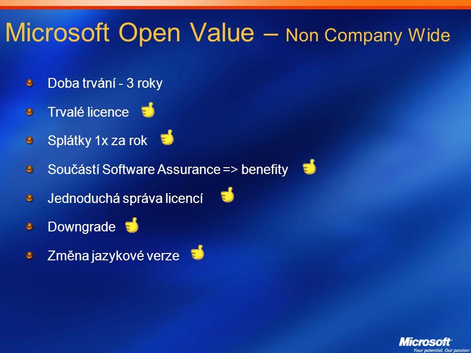 Microsoft Open Value – Non Company Wide Doba trvání - 3 roky Trvalé licence Splátky 1x za rok Součástí Software Assurance => benefity Jednoduchá správa licencí Downgrade Změna jazykové verze