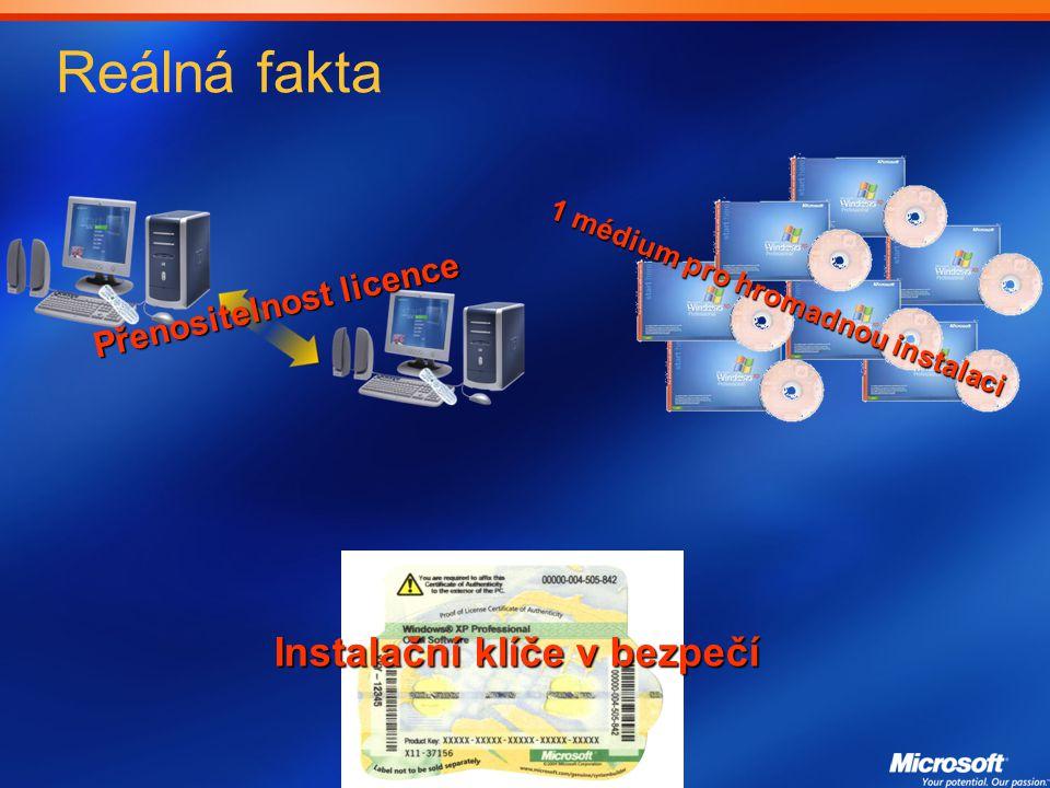 Reálná fakta Přenositelnost licence 1 médium pro hromadnou instalaci Instalační klíče v bezpečí