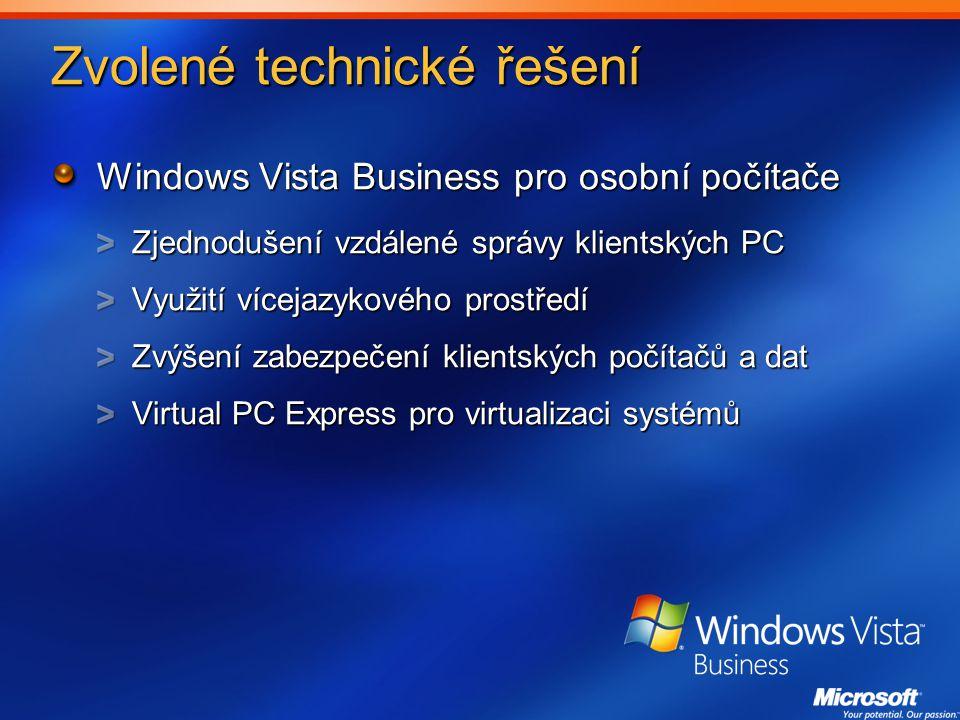 Zvolené technické řešení Windows Vista Business pro osobní počítače Zjednodušení vzdálené správy klientských PC Využití vícejazykového prostředí Zvýšení zabezpečení klientských počítačů a dat Virtual PC Express pro virtualizaci systémů