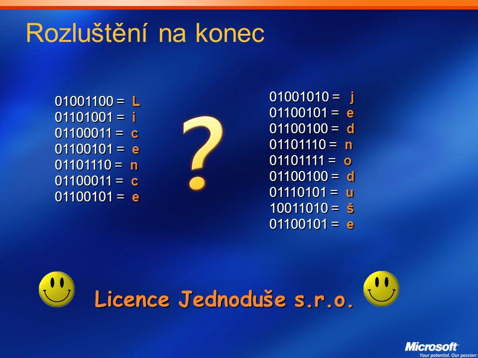 Rozluštění na konec 01001100 = L 01101001 = i 01100011 = c 01100101 = e 01101110 = n 01100011 = c 01100101 = e 01001010 = j 01100101 = e 01100100 = d 01101110 = n 01101111 = o 01100100 = d 01110101 = u 10011010 = š 01100101 = e Licence Jednoduše s.r.o.