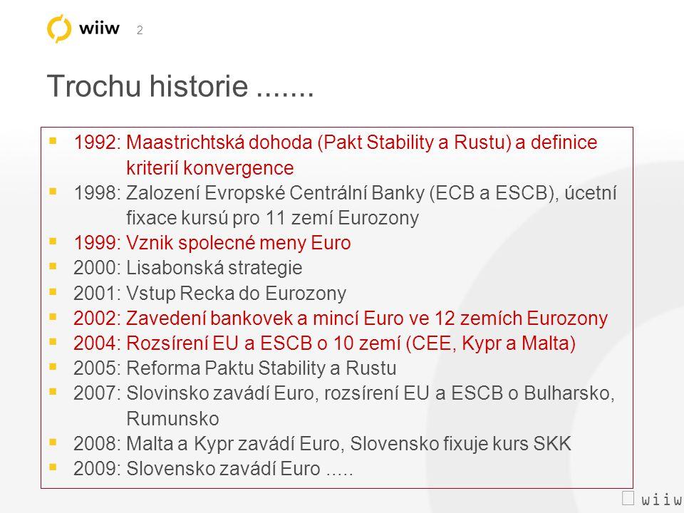  wiiw 2 Trochu historie.......  1992: Maastrichtská dohoda (Pakt Stability a Rustu) a definice kriterií konvergence  1998: Zalození Evropské Centr