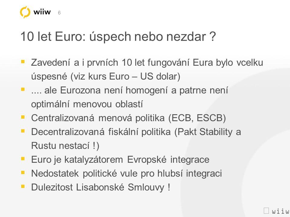  wiiw 6 10 let Euro: úspech nebo nezdar ?  Zavedení a i prvních 10 let fungování Eura bylo vcelku úspesné (viz kurs Euro – US dolar) .... ale Euro