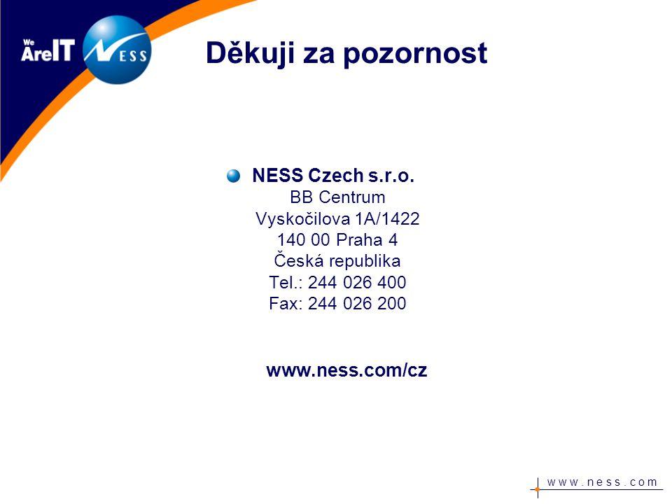 w w w. n e s s. c o m Děkuji za pozornost NESS Czech s.r.o.