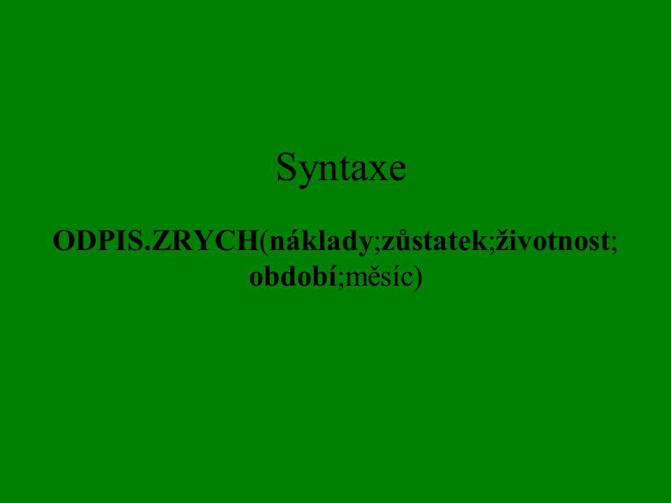 Syntaxe ODPIS.ZRYCH(náklady;zůstatek;životnost; období;měsíc)