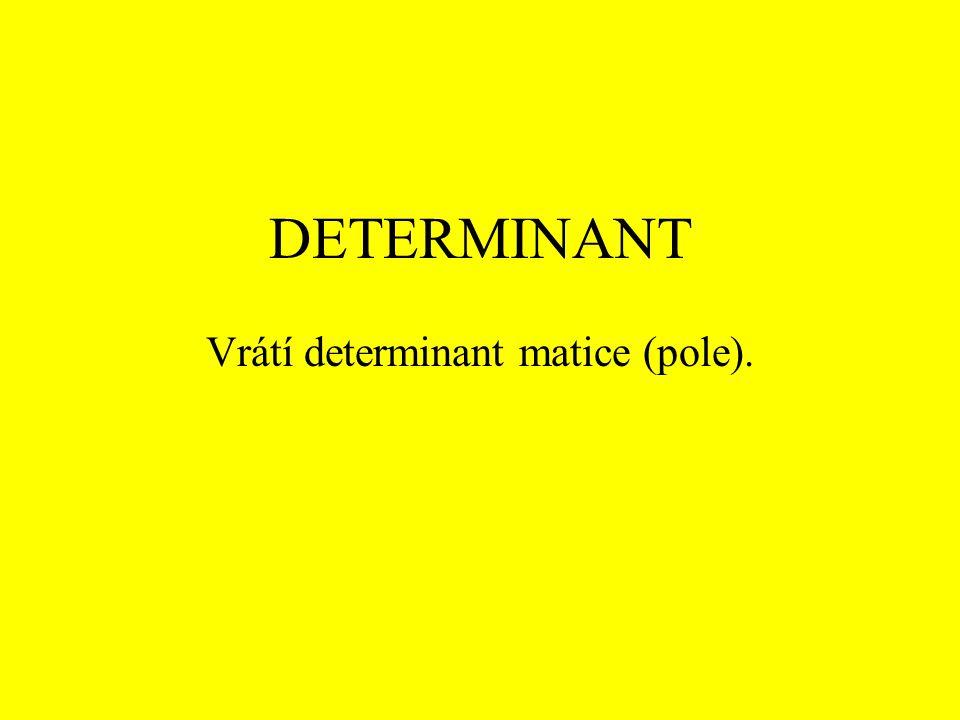 DETERMINANT Vrátí determinant matice (pole).