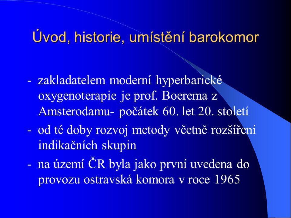 Úvod, historie, umístění barokomor - zakladatelem moderní hyperbarické oxygenoterapie je prof. Boerema z Amsterodamu- počátek 60. let 20. století - od