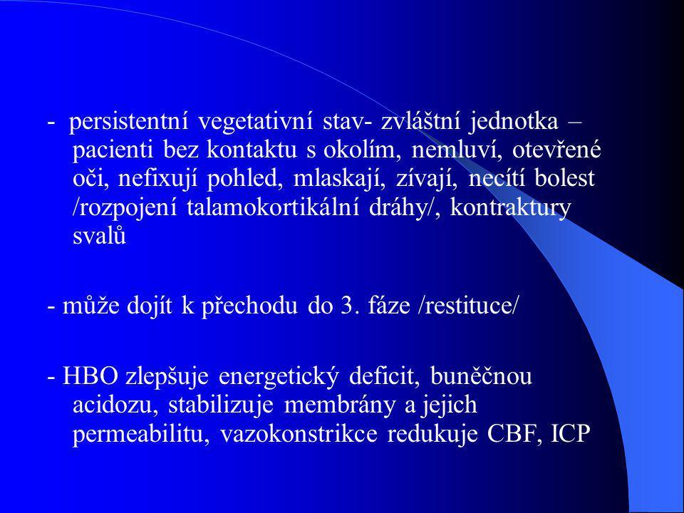 - persistentní vegetativní stav- zvláštní jednotka – pacienti bez kontaktu s okolím, nemluví, otevřené oči, nefixují pohled, mlaskají, zívají, necítí