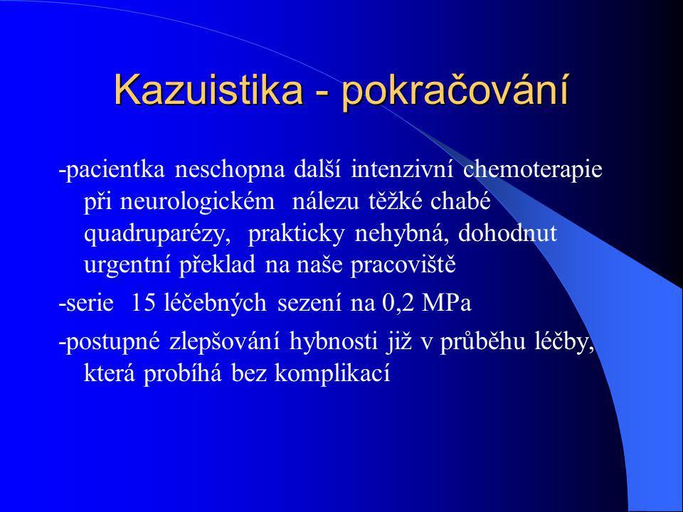 Kazuistika - pokračování -pacientka neschopna další intenzivní chemoterapie při neurologickém nálezu těžké chabé quadruparézy, prakticky nehybná, doho