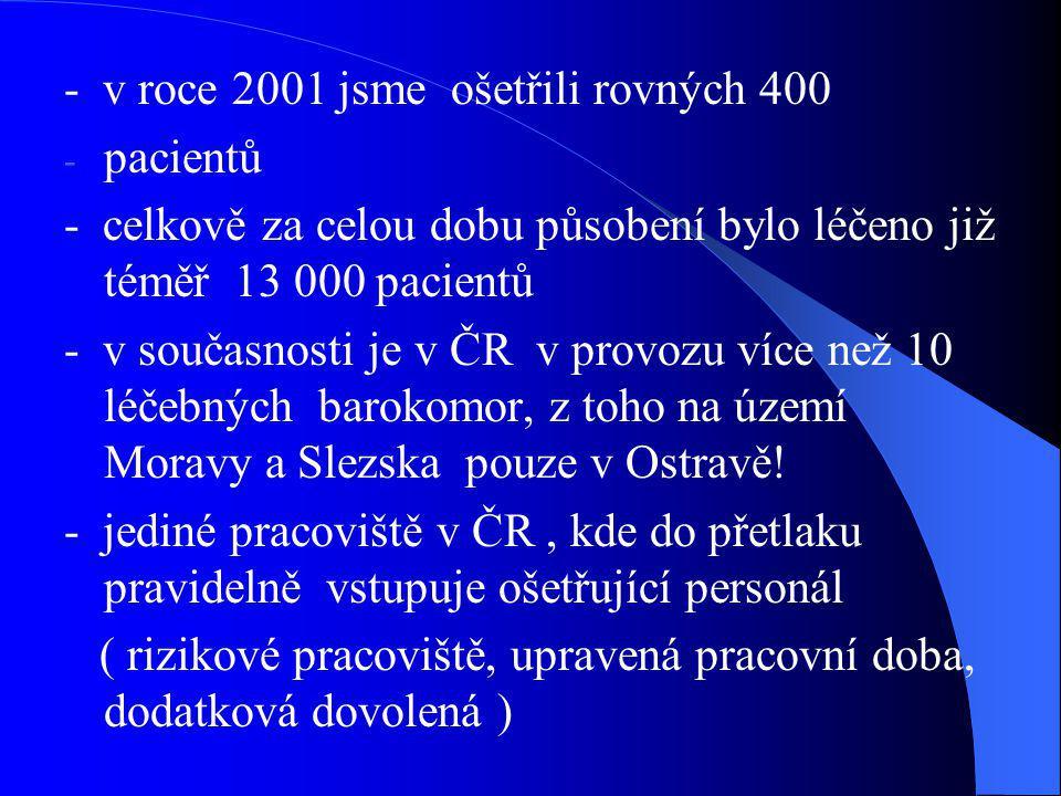 - v roce 2001 jsme ošetřili rovných 400 - pacientů - celkově za celou dobu působení bylo léčeno již téměř 13 000 pacientů - v současnosti je v ČR v pr