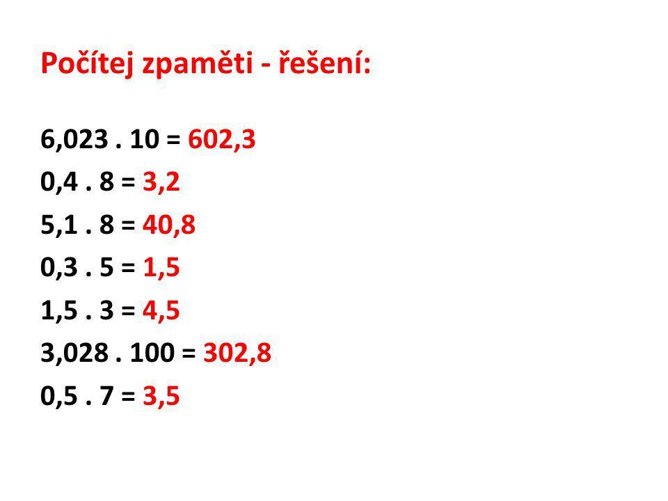 Počítej zpaměti - řešení: 6,023. 10 = 602,3 0,4. 8 = 3,2 5,1. 8 = 40,8 0,3. 5 = 1,5 1,5. 3 = 4,5 3,028. 100 = 302,8 0,5. 7 = 3,5
