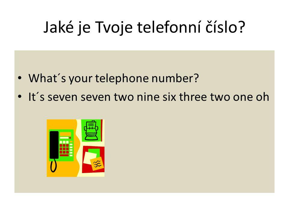 Jaké je Tvoje telefonní číslo. What´s your telephone number.