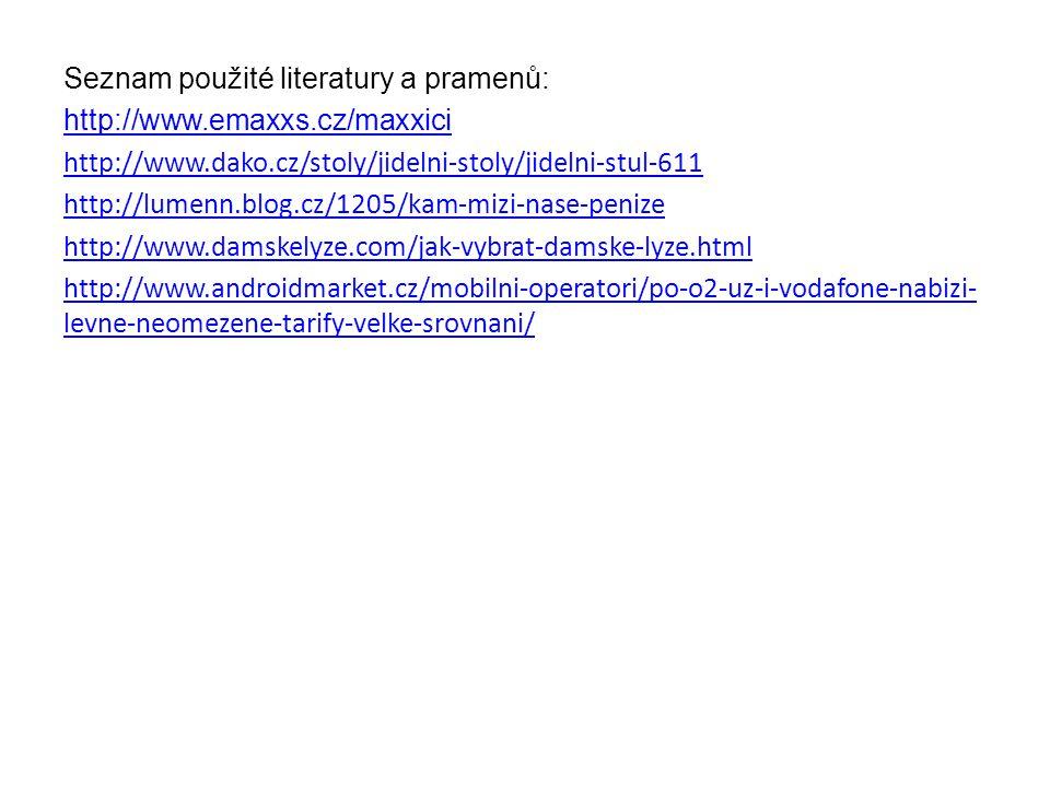 Seznam použité literatury a pramenů: http://www.emaxxs.cz/maxxici http://www.dako.cz/stoly/jidelni-stoly/jidelni-stul-611 http://lumenn.blog.cz/1205/kam-mizi-nase-penize http://www.damskelyze.com/jak-vybrat-damske-lyze.html http://www.androidmarket.cz/mobilni-operatori/po-o2-uz-i-vodafone-nabizi- levne-neomezene-tarify-velke-srovnani/
