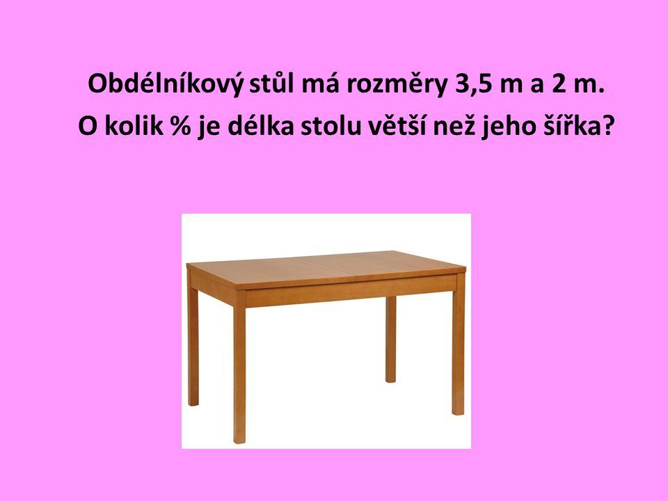 Obdélníkový stůl má rozměry 3,5 m a 2 m. O kolik % je délka stolu větší než jeho šířka