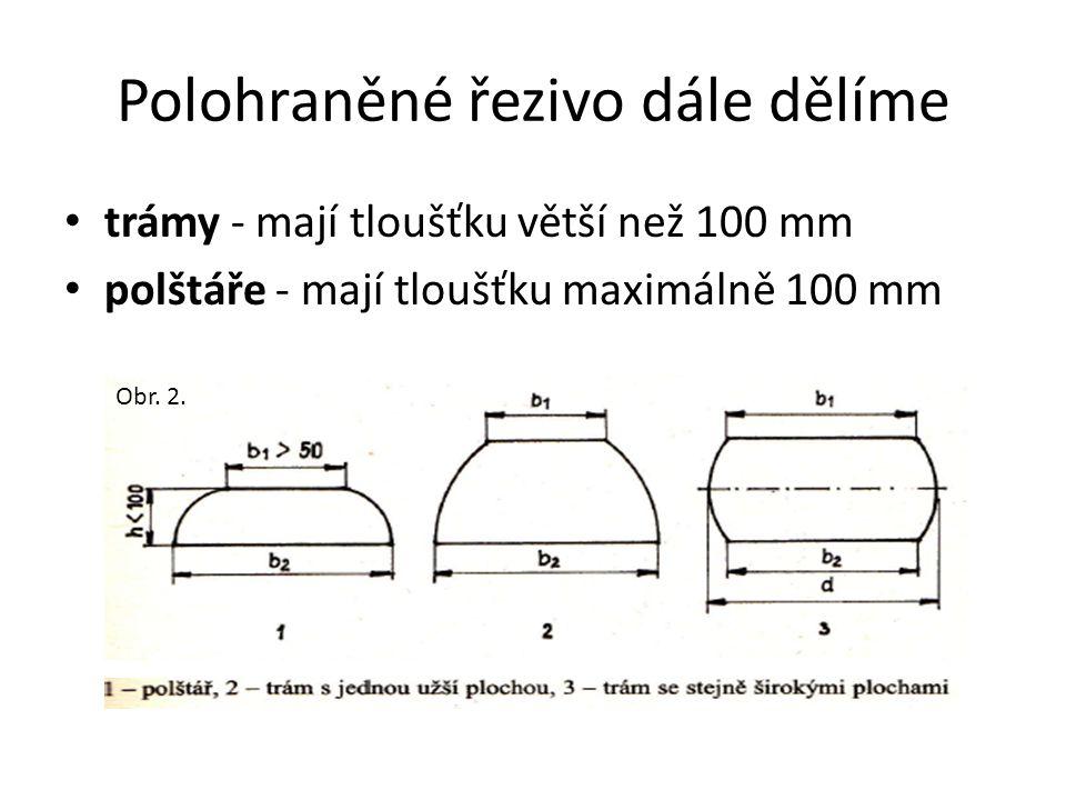 Polohraněné řezivo dále dělíme trámy - mají tloušťku větší než 100 mm polštáře - mají tloušťku maximálně 100 mm Obr. 2.