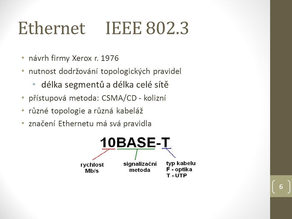 7 Ethernet - rozdělení Klasický Ethernet (10Mb/s) 10BASE-5 (tlustý) 10BASE-2 (tenký) 10BASE-T 10BASE-F Fast Ethernet (100Mb/s) 100BASE-Tx 100BASE-Fx Gigabit Ethernet (1000Mb/s) 1000BASE-T 1000BASE-X