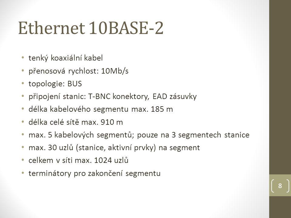 9 Ethernet 10BASE-T kroucená dvojlinka (UTP) nutnost aktivního prvku: HUB (později SWITCH) přenosová rychlost: 10Mb/s topologie: STAR délka kabelu PC-Hub max.