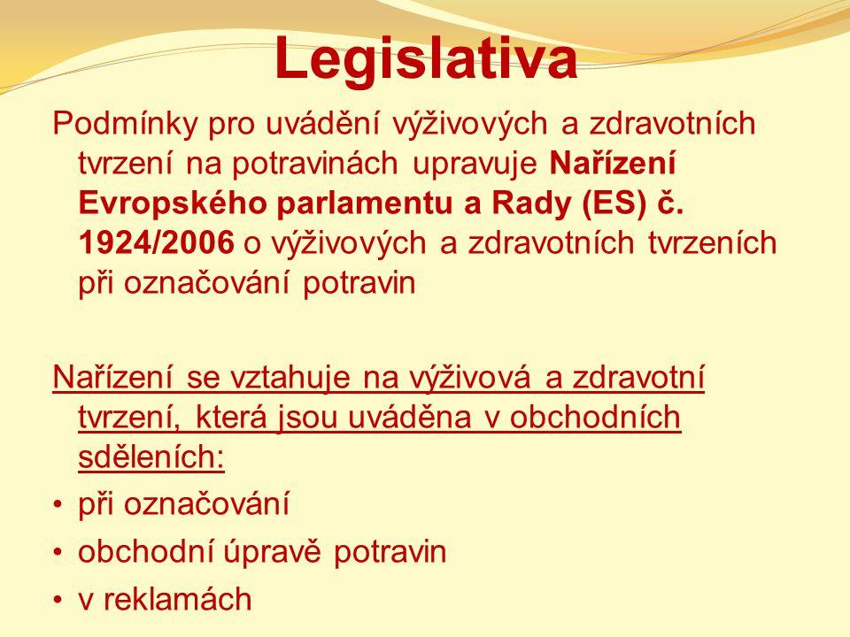 Legislativa Podmínky pro uvádění výživových a zdravotních tvrzení na potravinách upravuje Nařízení Evropského parlamentu a Rady (ES) č. 1924/2006 o vý