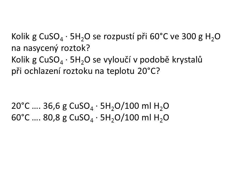 Kolik g CuSO 4 · 5H 2 O se rozpustí při 60°C ve 300 g H 2 O na nasycený roztok? Kolik g CuSO 4 · 5H 2 O se vyloučí v podobě krystalů při ochlazení roz