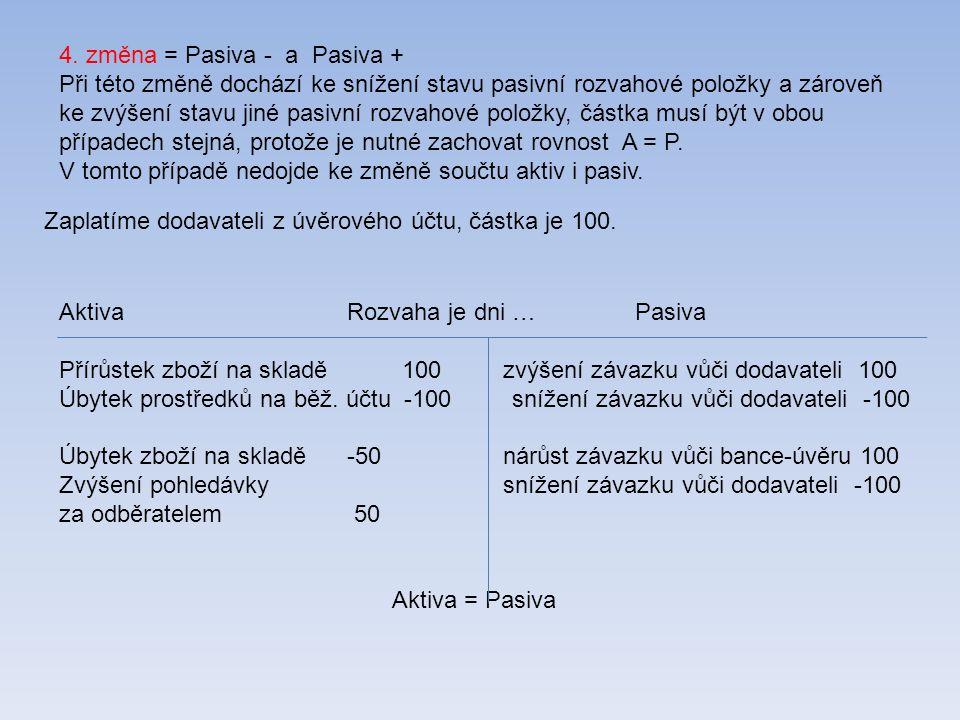 4. změna = Pasiva - a Pasiva + Při této změně dochází ke snížení stavu pasivní rozvahové položky a zároveň ke zvýšení stavu jiné pasivní rozvahové pol