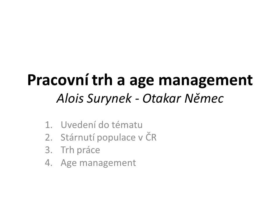 Pracovní trh a age management Alois Surynek - Otakar Němec 1.Uvedení do tématu 2.Stárnutí populace v ČR 3.Trh práce 4.Age management