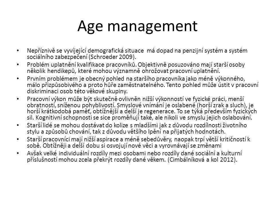 Age management Nepříznivě se vyvíjející demografická situace má dopad na penzijní systém a systém sociálního zabezpečení (Schroeder 2009). Problém upl