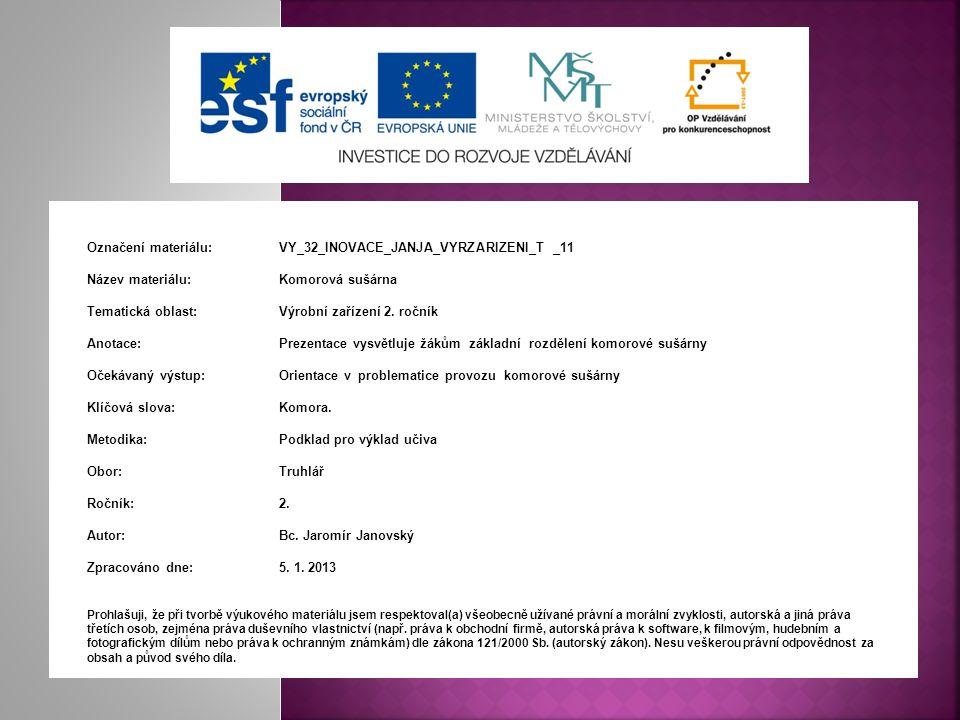 Označení materiálu: VY_32_INOVACE_JANJA_VYRZARIZENI_T _11 Název materiálu:Komorová sušárna Tematická oblast:Výrobní zařízení 2. ročník Anotace:Prezent