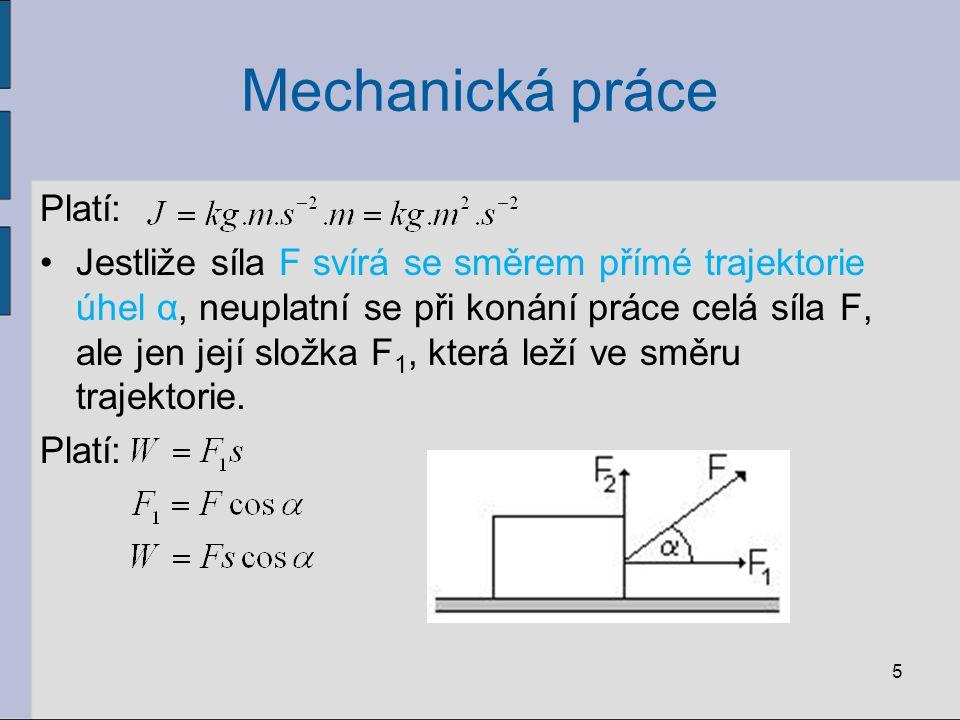 Mechanická práce Platí: Jestliže síla F svírá se směrem přímé trajektorie úhel α, neuplatní se při konání práce celá síla F, ale jen její složka F 1,