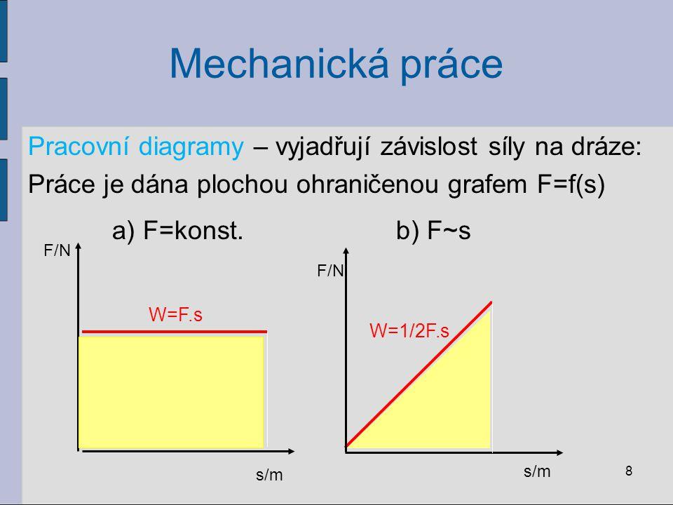 Mechanická práce Pracovní diagramy – vyjadřují závislost síly na dráze: Práce je dána plochou ohraničenou grafem F=f(s) 8 F/N s/m W=F.s s/m F/N W=1/2F