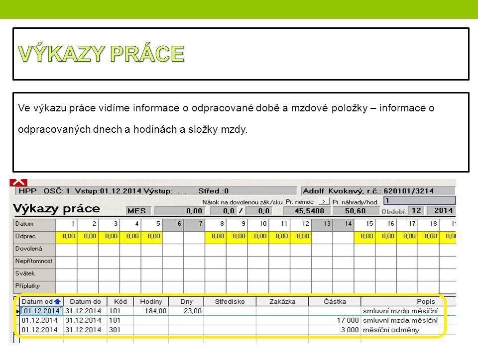 Ve výkazu práce vidíme informace o odpracované době a mzdové položky – informace o odpracovaných dnech a hodinách a složky mzdy.