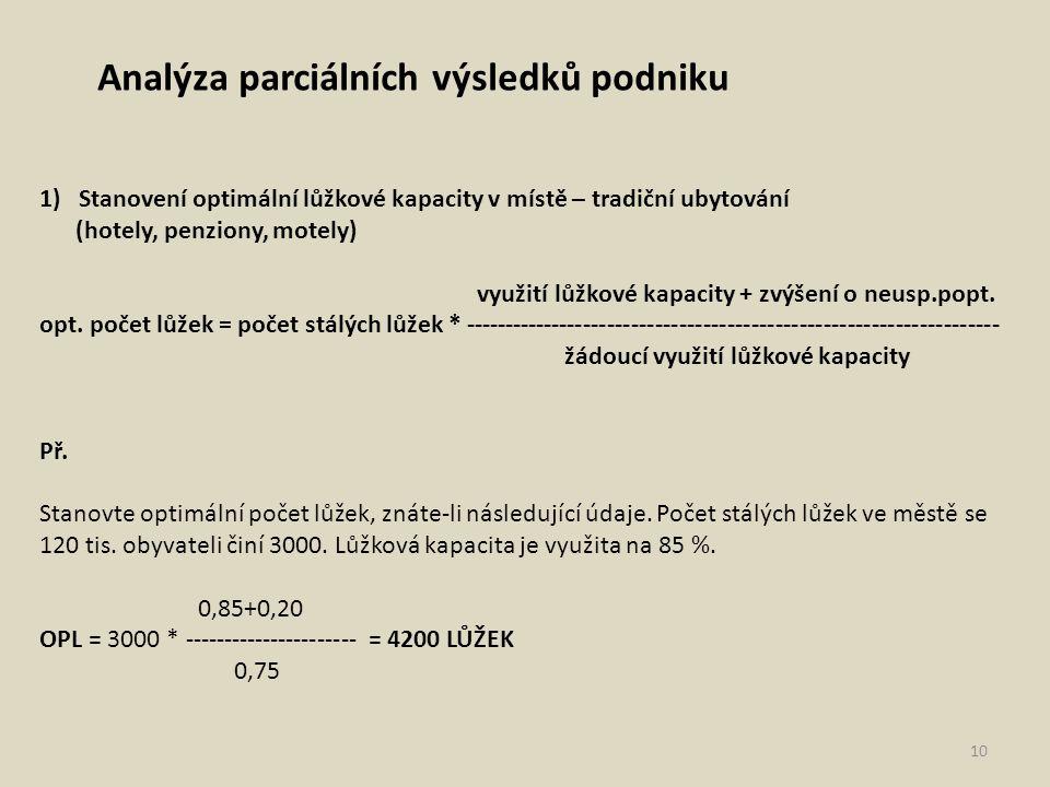 Analýza parciálních výsledků podniku 1)Stanovení optimální lůžkové kapacity v místě – tradiční ubytování (hotely, penziony, motely) využití lůžkové ka