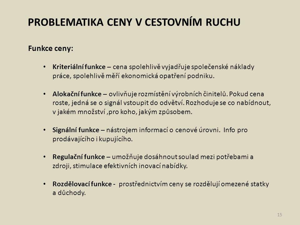 PROBLEMATIKA CENY V CESTOVNÍM RUCHU Funkce ceny: Kriteriální funkce – cena spolehlivě vyjadřuje společenské náklady práce, spolehlivě měří ekonomická