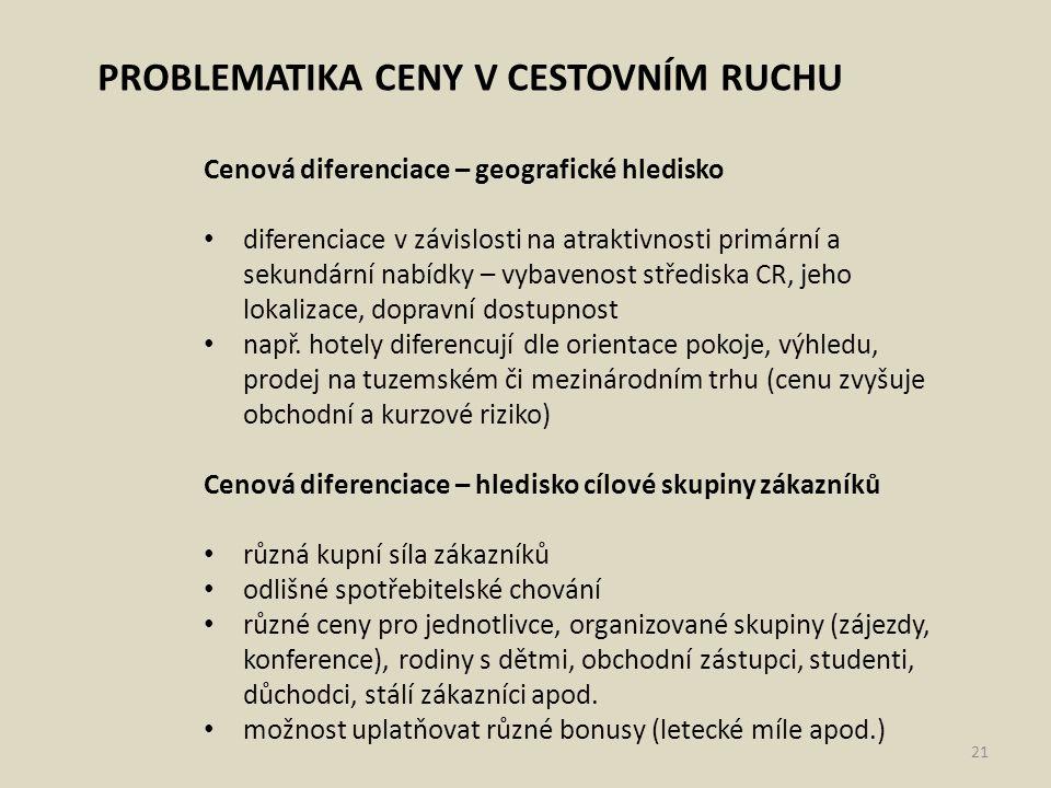 PROBLEMATIKA CENY V CESTOVNÍM RUCHU Cenová diferenciace – geografické hledisko diferenciace v závislosti na atraktivnosti primární a sekundární nabídk