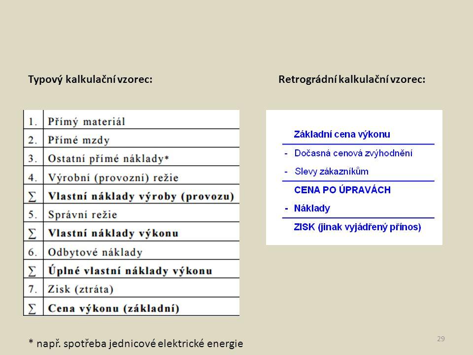 29 Typový kalkulační vzorec:Retrográdní kalkulační vzorec: * např. spotřeba jednicové elektrické energie