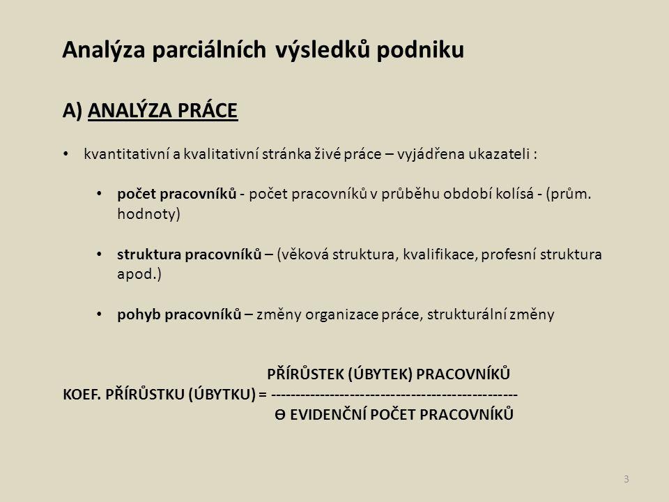 Analýza parciálních výsledků podniku A) ANALÝZA PRÁCE kvantitativní a kvalitativní stránka živé práce – vyjádřena ukazateli : počet pracovníků - počet