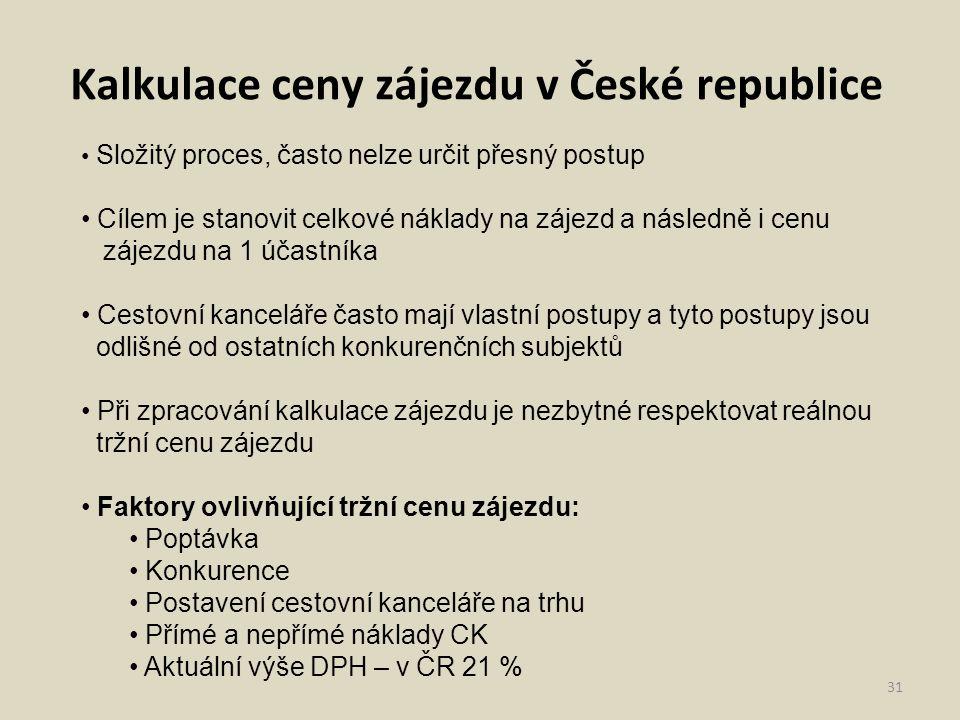 31 Kalkulace ceny zájezdu v České republice Složitý proces, často nelze určit přesný postup Cílem je stanovit celkové náklady na zájezd a následně i c