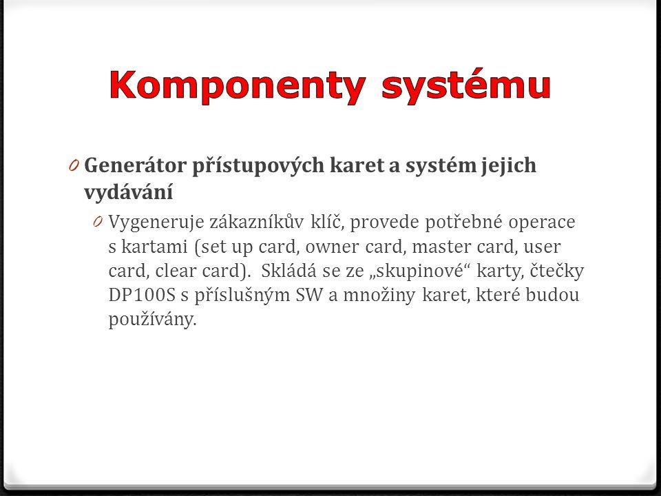 0 Generátor přístupových karet a systém jejich vydávání 0 Vygeneruje zákazníkův klíč, provede potřebné operace s kartami (set up card, owner card, mas