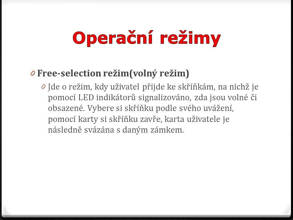0 Free-selection režim(volný režim) 0 Jde o režim, kdy uživatel přijde ke skříňkám, na nichž je pomocí LED indikátorů signalizováno, zda jsou volné či