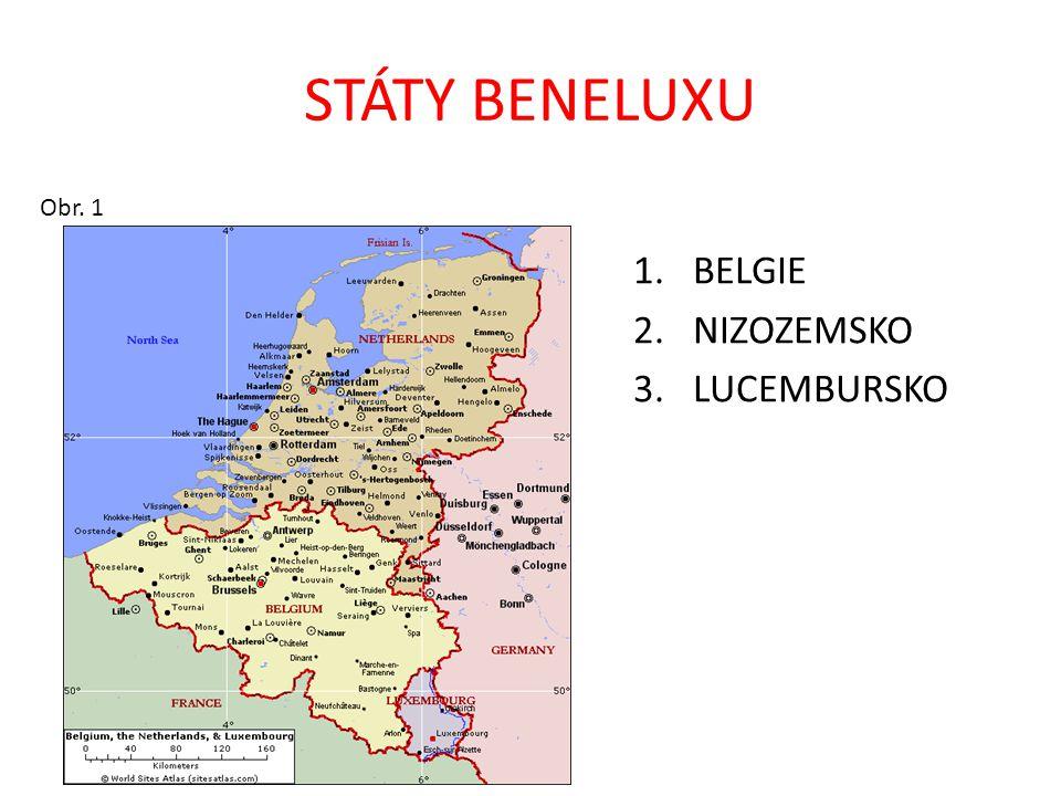 STÁTY BENELUXU Obr. 1 1.BELGIE 2.NIZOZEMSKO 3.LUCEMBURSKO