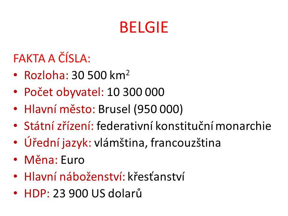 BELGIE FAKTA A ČÍSLA: Rozloha: 30 500 km 2 Počet obyvatel: 10 300 000 Hlavní město: Brusel (950 000) Státní zřízení: federativní konstituční monarchie