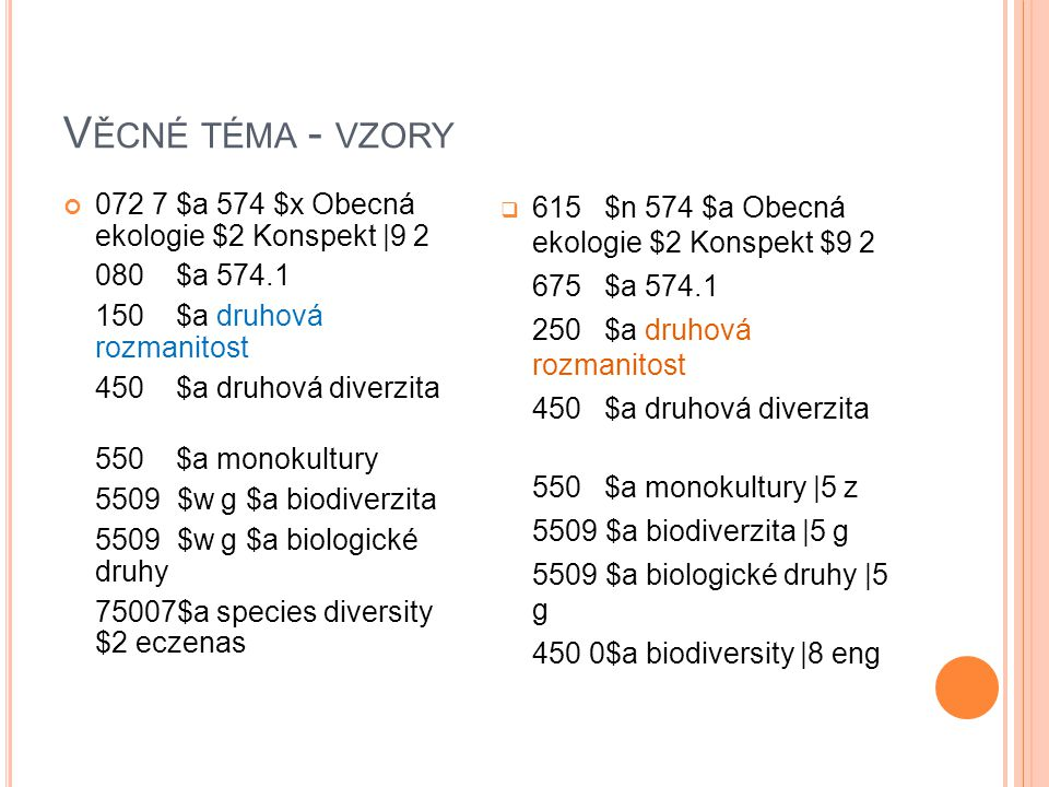 V ĚCNÉ TÉMA - VZORY 072 7 $a 574 $x Obecná ekologie $2 Konspekt |9 2 080 $a 574.1 150 $a druhová rozmanitost 450 $a druhová diverzita 550 $a monokultu