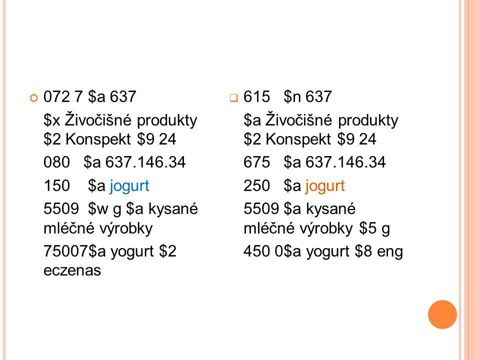 072 7 $a 637 $x Živočišné produkty $2 Konspekt $9 24 080 $a 637.146.34 150 $a jogurt 5509 $w g $a kysané mléčné výrobky 75007$a yogurt $2 eczenas  61