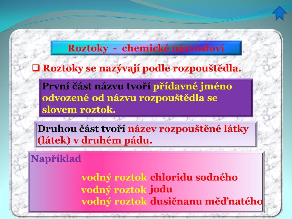 Roztoky - chemické názvosloví  Roztoky se nazývají podle rozpouštědla. První část názvu tvoří přídavné jméno odvozené od názvu rozpouštědla se slovem