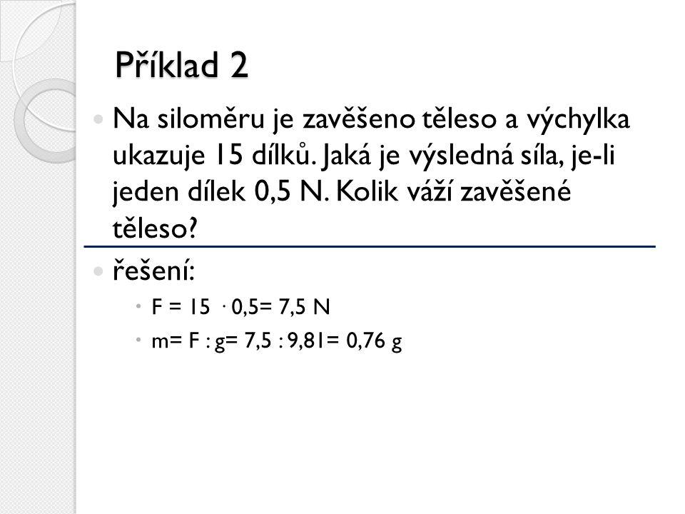 Příklad 2 Na siloměru je zavěšeno těleso a výchylka ukazuje 15 dílků. Jaká je výsledná síla, je-li jeden dílek 0,5 N. Kolik váží zavěšené těleso? řeše