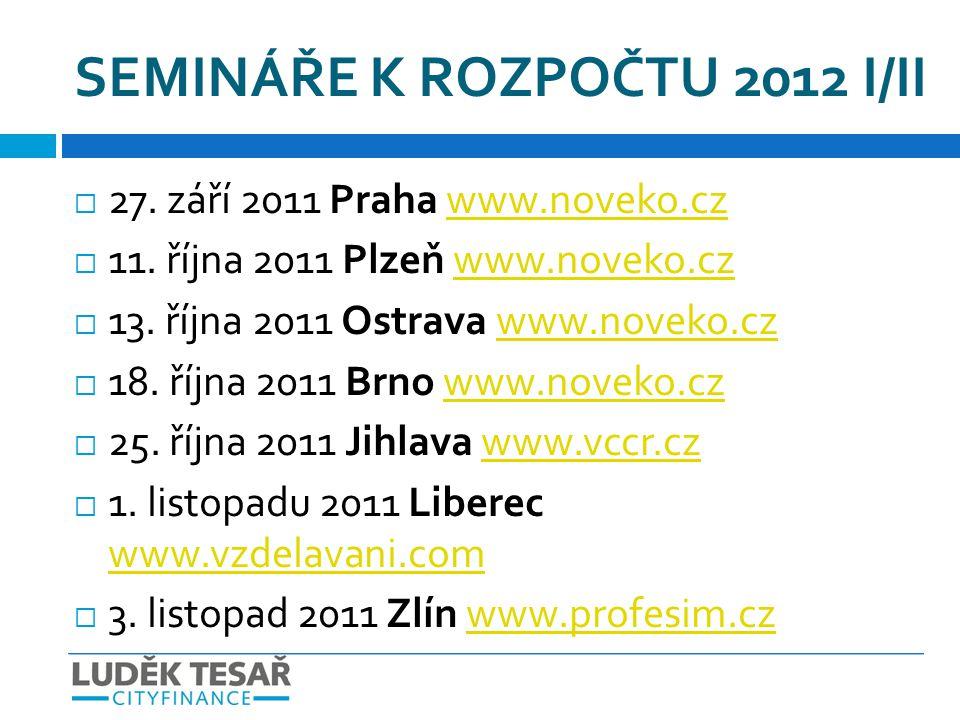 SEMINÁŘE K ROZPOČTU 2012 I/II  27. září 2011 Praha www.noveko.czwww.noveko.cz  11. října 2011 Plzeň www.noveko.czwww.noveko.cz  13. října 2011 Ostr