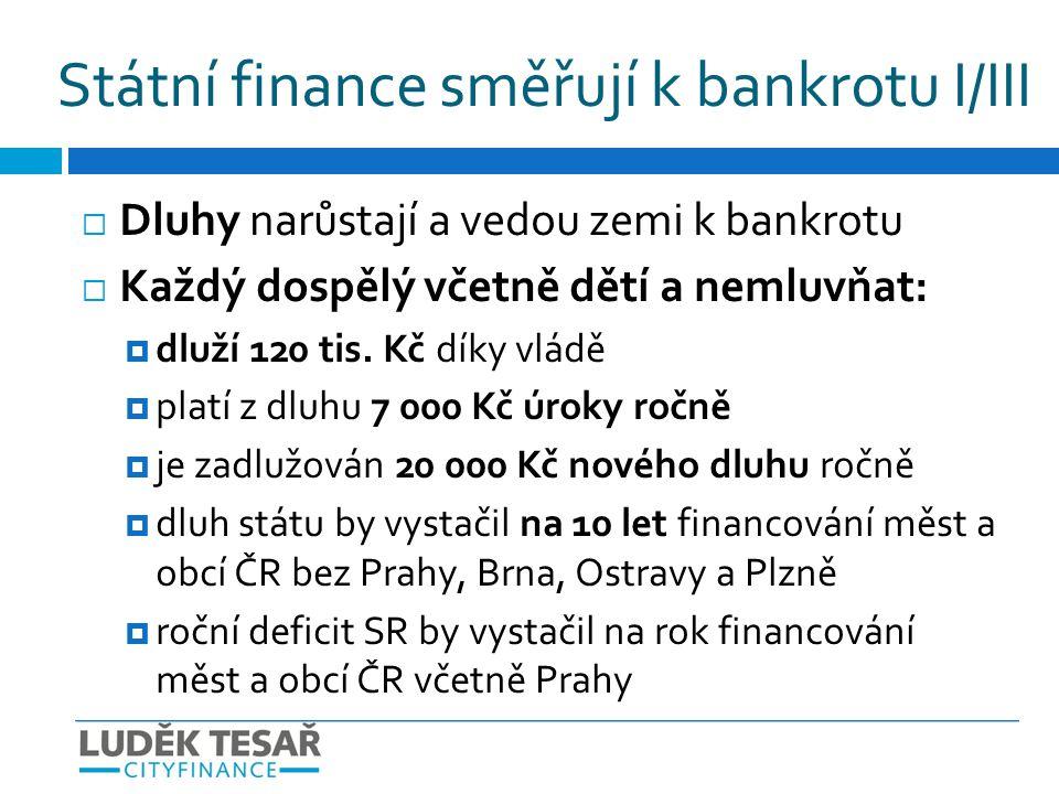  Příjmy klesají X výdaje rostou  Stát nemá prostředky na běžné výdaje  Omezuje investice - brzdí rozvoj infrastruktury  Dotace křiví trh, zvedají daně a živí korupci  Svoboda podnikání mizí nastupuje regulace Státní finance směřují k bankrotu II/III